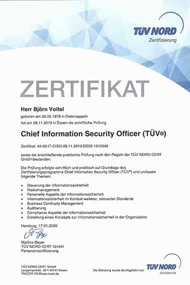 Björn Voitel, geprüfter Chief Information Security Officer TÜV
