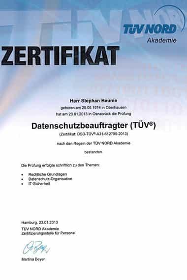 Stephan Beume, geprüfter Datenschutzbeauftragter (TÜV®)