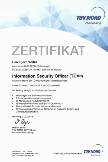 Björn Voitel, geprüfter Informationssicherheitsbeauftragter TÜV