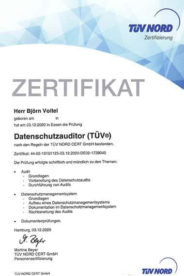 Björn Voitel, geprüfter Datenschutzauditor TüV